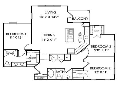 1,317 sq. ft. C1 floor plan