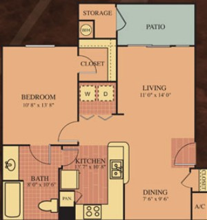 718 sq. ft. 60% Van Goh floor plan
