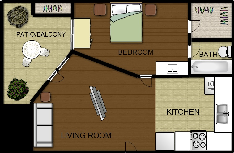 399 sq. ft. floor plan