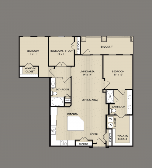 1,405 sq. ft. C3 floor plan