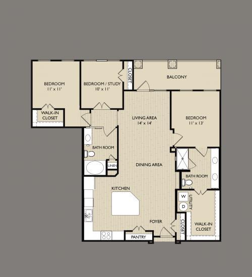 1,405 sq. ft. C3 floor plan