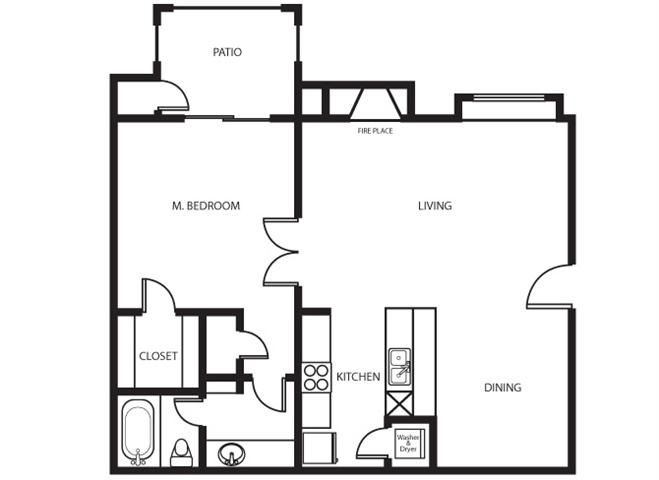 686 sq. ft. Oak floor plan