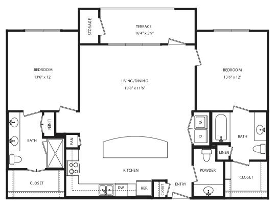 1,259 sq. ft. B12/B13 floor plan