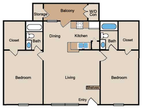 1,083 sq. ft. floor plan
