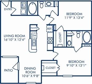 1,118 sq. ft. II/B1 floor plan