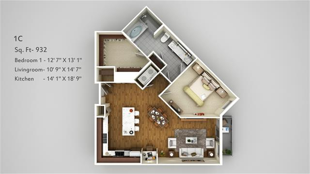932 sq. ft. 1C floor plan