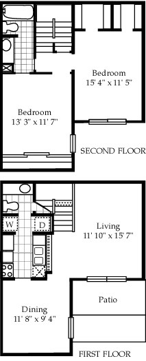 1,143 sq. ft. B3 floor plan
