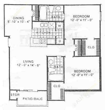 934 sq. ft. Maple floor plan