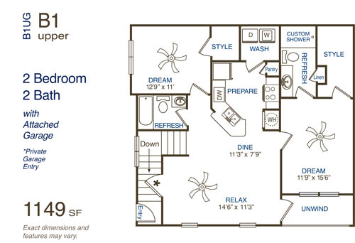 1,149 sq. ft. B1 floor plan