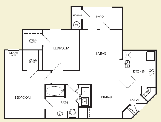 955 sq. ft. Staten floor plan