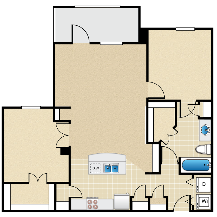 951 sq. ft. 50% floor plan