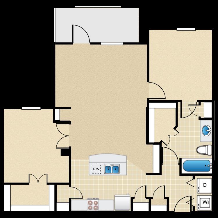 951 sq. ft. 50% floor plan