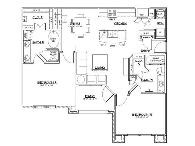 1,084 sq. ft. B1.2 floor plan