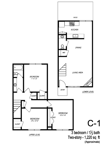 1,219 sq. ft. C1 floor plan