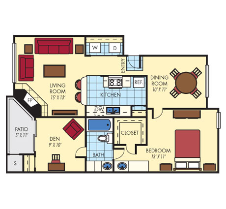 926 sq. ft. A3 floor plan