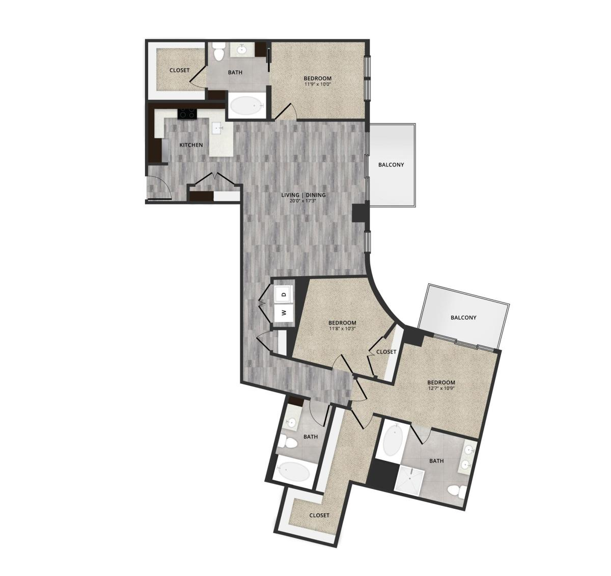 1,648 sq. ft. B3 floor plan