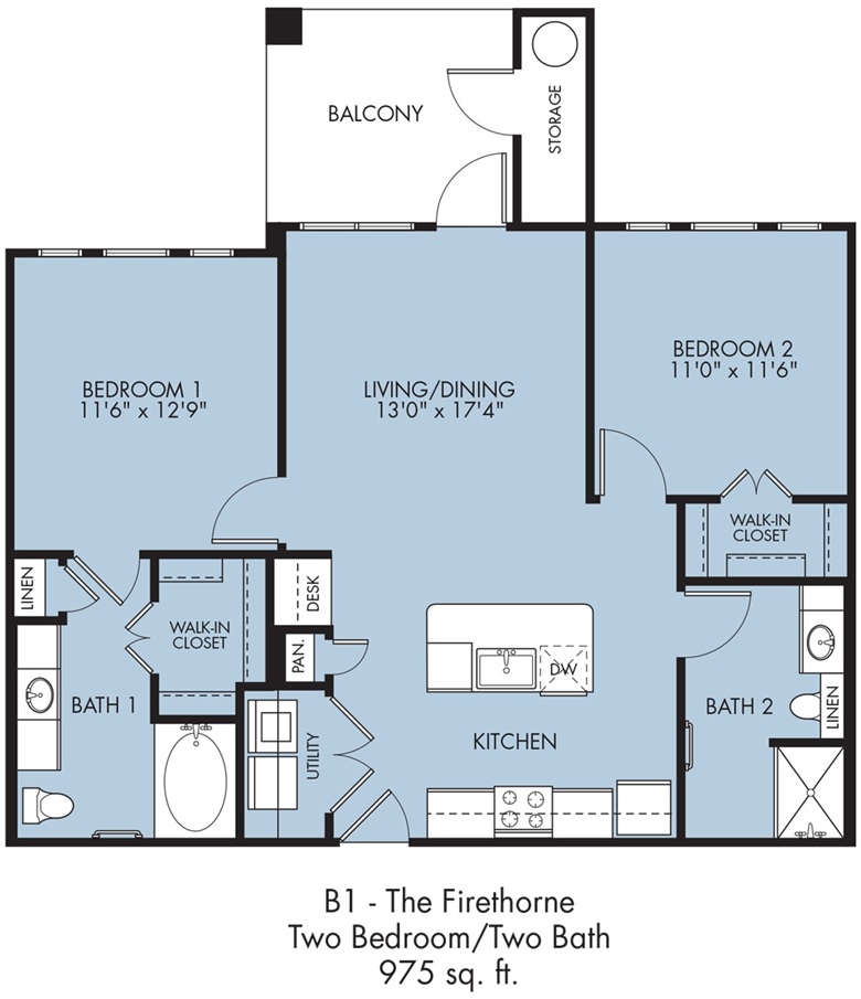 975 sq. ft. Firethorne floor plan