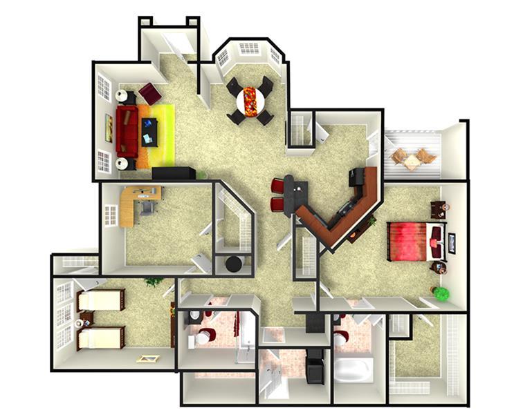 1,444 sq. ft. C1LGHC floor plan