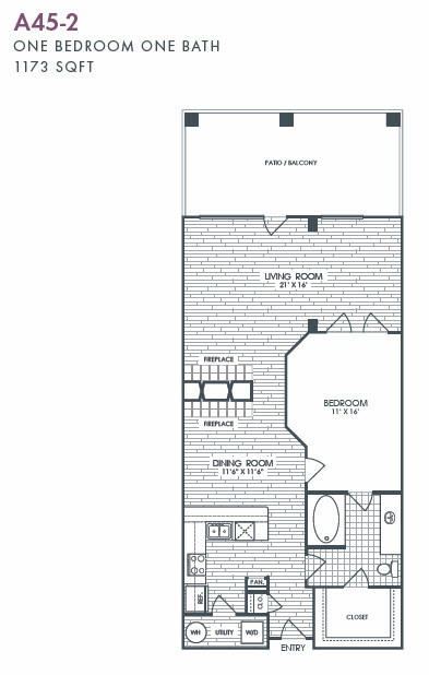 1,173 sq. ft. A45-2 floor plan