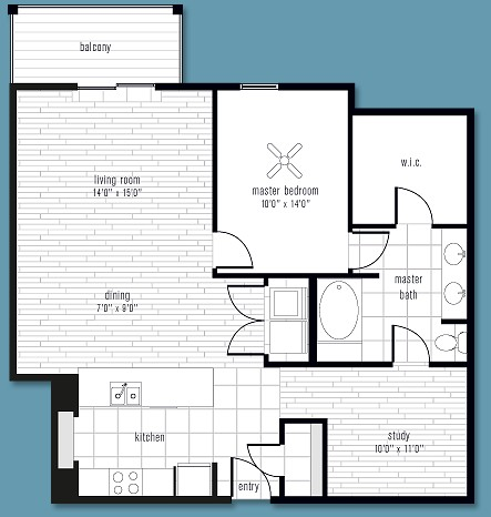 1,083 sq. ft. to 1,245 sq. ft. S floor plan