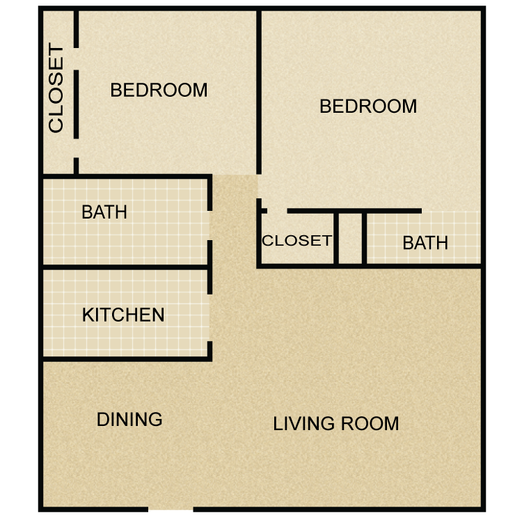 957 sq. ft. B3 floor plan