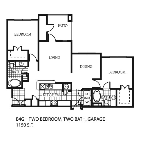 1,150 sq. ft. B1 floor plan