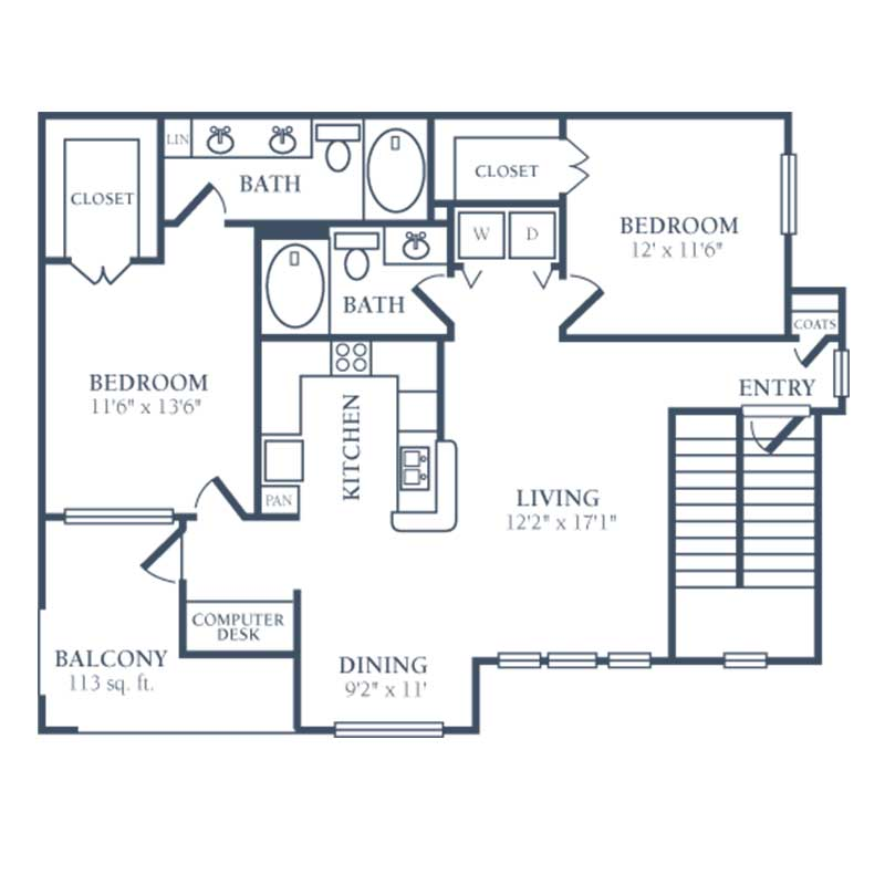 1,096 sq. ft. F floor plan