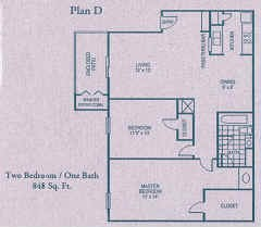848 sq. ft. D floor plan