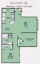 1,017 sq. ft. 50% floor plan