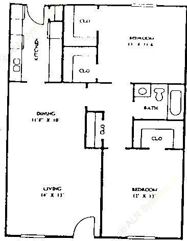 984 sq. ft. 60% floor plan