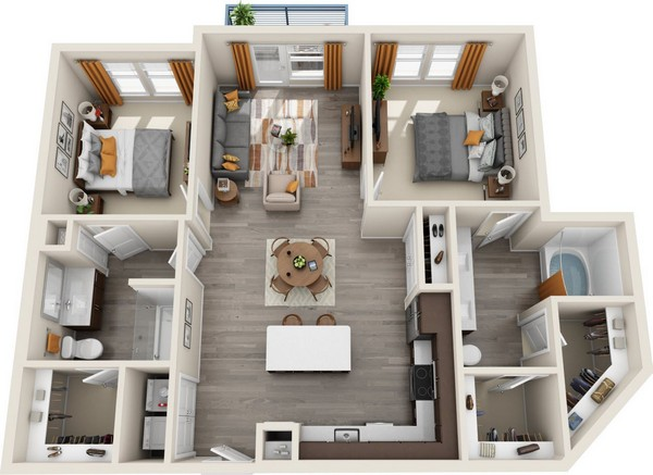 1,197 sq. ft. B1.1 floor plan