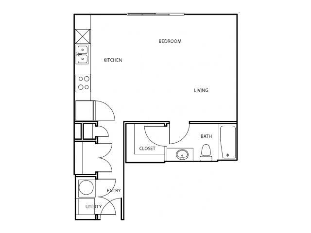 566 sq. ft. E2 floor plan