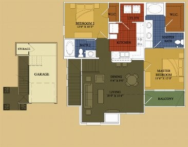 1,077 sq. ft. Rosemary floor plan