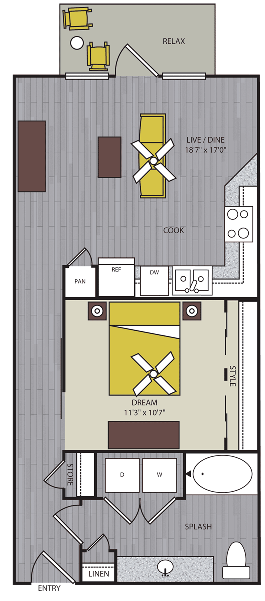 656 sq. ft. to 757 sq. ft. A3 floor plan