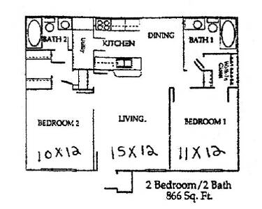 866 sq. ft. floor plan