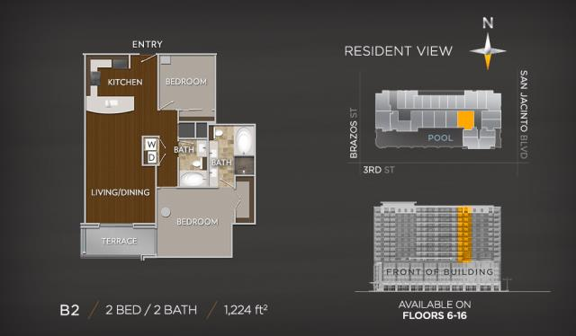 1,224 sq. ft. B2 floor plan