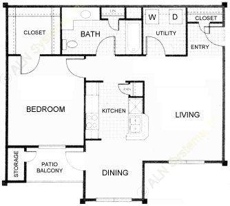 738 sq. ft. Barque floor plan