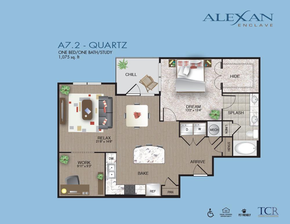 1,075 sq. ft. Quartz floor plan