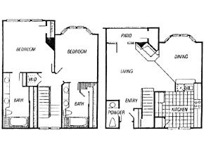 1,418 sq. ft. Vickery/Calais floor plan