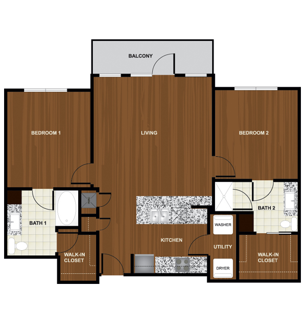 1,068 sq. ft. B3 floor plan