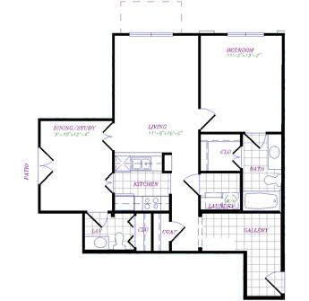 925 sq. ft. to 932 sq. ft. 1x1.5 Traditional floor plan