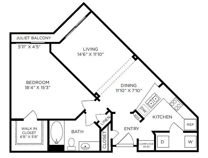 824 sq. ft. to 879 sq. ft. Chelsea floor plan