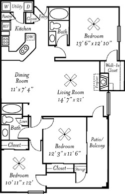 1,351 sq. ft. Champagne floor plan