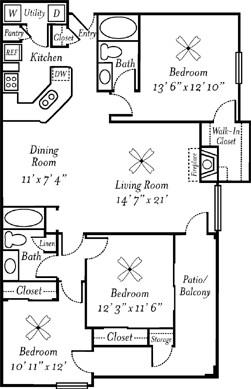 1,351 sq. ft. Champagne floor plan