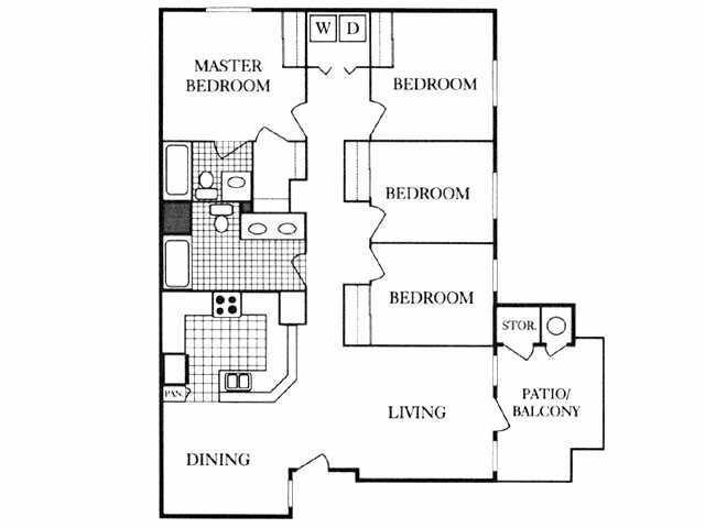 1,325 sq. ft. 50% floor plan