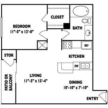 662 sq. ft. C floor plan