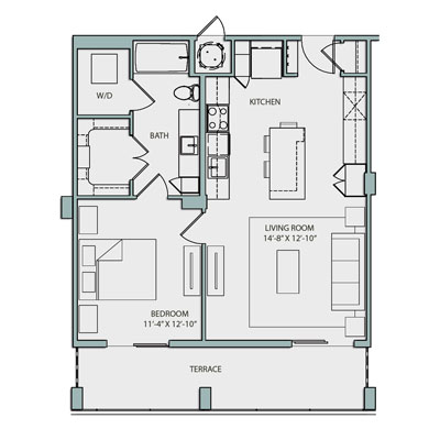 828 sq. ft. A4.1 floor plan