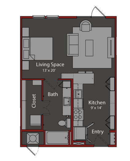 599 sq. ft. S1 floor plan
