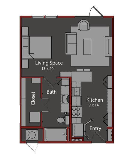 599 sq. ft. S1 floor plan