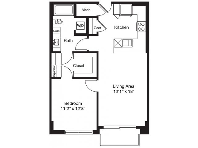 789 sq. ft. TB floor plan